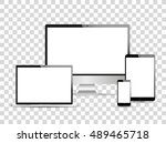 digital devices. laptop  tablet ... | Shutterstock .eps vector #489465718