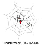spider web and the businessman.  | Shutterstock .eps vector #489466138