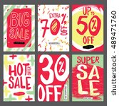 social media sale banners and... | Shutterstock .eps vector #489471760