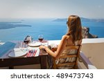 Young Woman Drinking Red Wine...