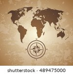 vintage old map. world map with ... | Shutterstock .eps vector #489475000