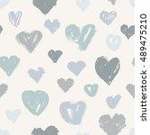 vector seamless hearts pattern  ... | Shutterstock .eps vector #489475210