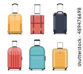 travel luggage or travel... | Shutterstock .eps vector #489476698