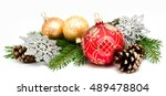 christmas decoration balls with ... | Shutterstock . vector #489478804