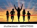 running sports. five runners... | Shutterstock . vector #489479500
