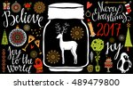 holiday christmas icons ... | Shutterstock .eps vector #489479800