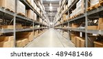 rows of shelves with boxes in... | Shutterstock . vector #489481486