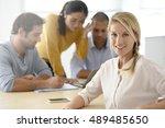 portrait of woman attending... | Shutterstock . vector #489485650