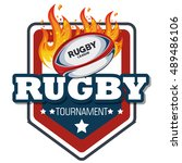 Rugby Label Ball With Flames...
