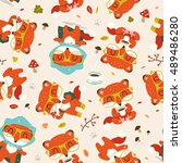 vector cartoon fall fox... | Shutterstock .eps vector #489486280