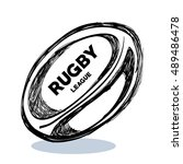 hand drawing rugby ball design | Shutterstock .eps vector #489486478