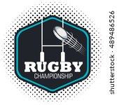 rugby championship ball flying... | Shutterstock .eps vector #489486526