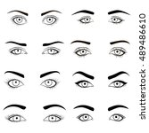 Set Of Female Eyes And Brows...