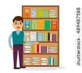 male bookseller against shelves ...   Shutterstock .eps vector #489487588