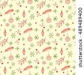 christmas seamless pattern....   Shutterstock .eps vector #489489400