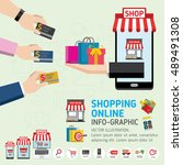 online shopping concept. mobile ... | Shutterstock .eps vector #489491308