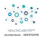 healthcare mechanism concept.... | Shutterstock .eps vector #489493498
