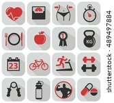 fitness and health icons with... | Shutterstock .eps vector #489497884