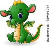Cartoon Baby Dragon Sitting