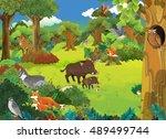 cartoon scene with wild animals ... | Shutterstock . vector #489499744