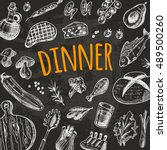 dinner card with elements of...   Shutterstock .eps vector #489500260