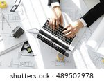 top shot of architect workplace ... | Shutterstock . vector #489502978