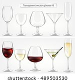 set of transparent vector glass ... | Shutterstock .eps vector #489503530