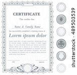 silver vertical certificate... | Shutterstock .eps vector #489503539