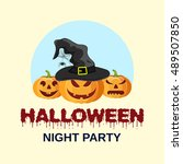 halloween party. vector... | Shutterstock .eps vector #489507850