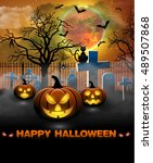 spooky card for halloween.... | Shutterstock .eps vector #489507868