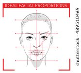 face chart make up.ideal facial ... | Shutterstock .eps vector #489510469
