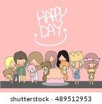 cartoon happy day  illustration ... | Shutterstock .eps vector #489512953