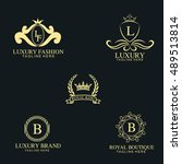 luxury logo collection design... | Shutterstock .eps vector #489513814