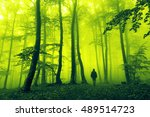 horror dark man in silhouette... | Shutterstock . vector #489514723