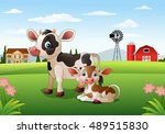 cartoon cow and calf with farm... | Shutterstock .eps vector #489515830