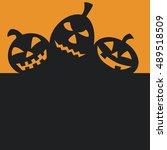 halloween pumpkins with black... | Shutterstock .eps vector #489518509
