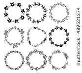 9 round floral frames | Shutterstock .eps vector #489521374