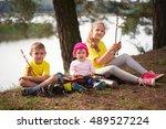 photo of happy children hiking...   Shutterstock . vector #489527224