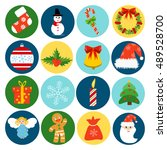 christmas retro icons elements... | Shutterstock .eps vector #489528700
