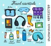 travel essentials   all for fly ... | Shutterstock .eps vector #489535789