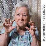 portrait of angry old woman... | Shutterstock . vector #489536710