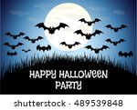 happy halloween house scary on... | Shutterstock . vector #489539848