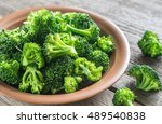 cooked broccoli on the plate | Shutterstock . vector #489540838