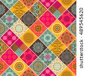 seamless pattern. vintage... | Shutterstock .eps vector #489545620