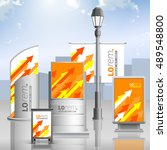 orange outdoor advertising... | Shutterstock .eps vector #489548800