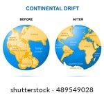 continental drift on the planet ... | Shutterstock . vector #489549028