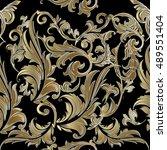 elegant black baroque damask...   Shutterstock .eps vector #489551404