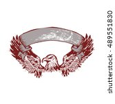 stylish old eagle logo with... | Shutterstock .eps vector #489551830