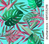 tropical flowers  jungle leaves ... | Shutterstock .eps vector #489555298