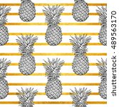 pineapple tropical vector... | Shutterstock .eps vector #489563170